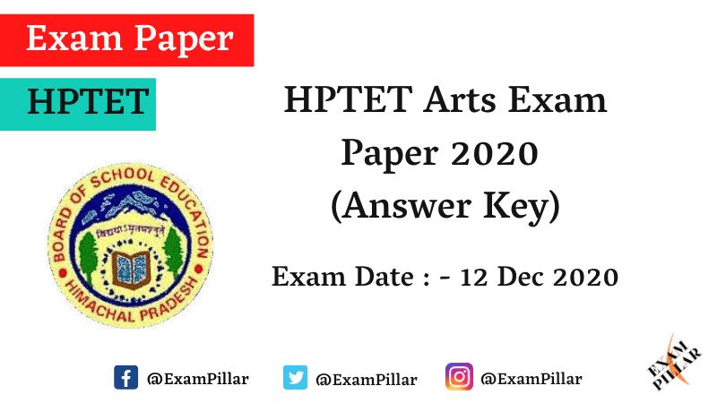 HPTET Arts Exam Paper - 12 Dec 2020 (Answer Key)