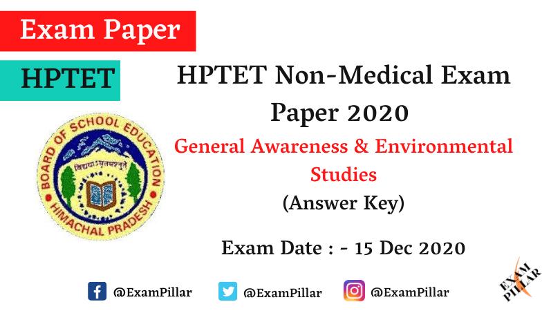 HPTET (Non Medical) Exam 15 De 2020 – GA & EVS (Answer Key)