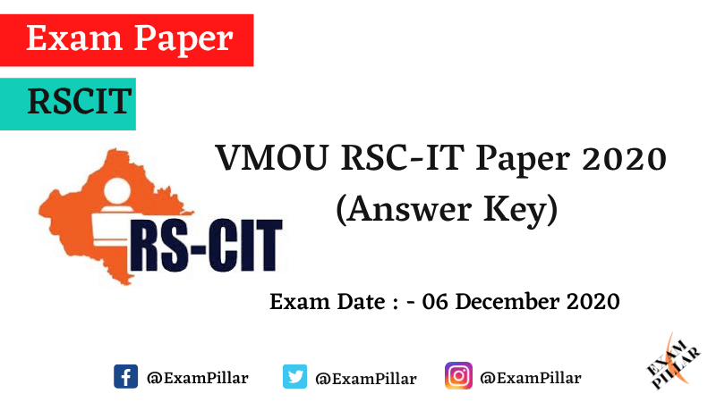 VMOU RSC-IT Exam Paper - 06 Dec 2020 (Answer Key)