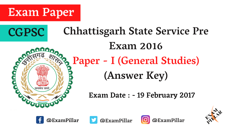 Chhattisgarh PCS Pre Exam 2016 Answer Key