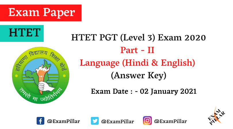 HTET PGT Answer Key 2021