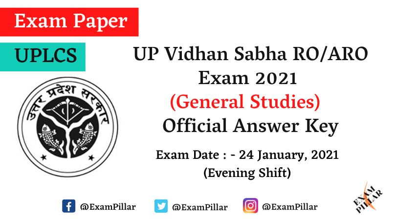 UP Vidhan Sabha RO Aro Exam 2021 (Answer Key)