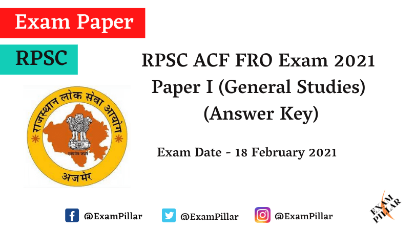 RPSC ACF FRO Exam Answer Key