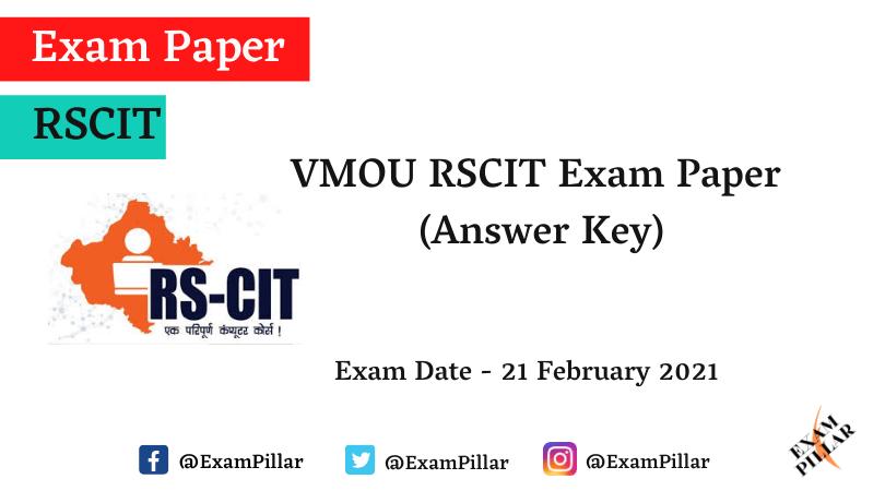 RSCIT 21 Feb 2021 Answer Key