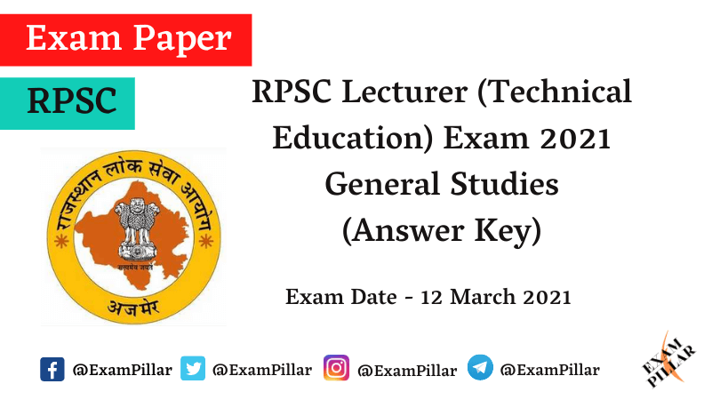 RPSC Lecturer Answer Key