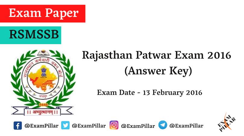 Rajasthan Patwari Exam 2016 Answer Key