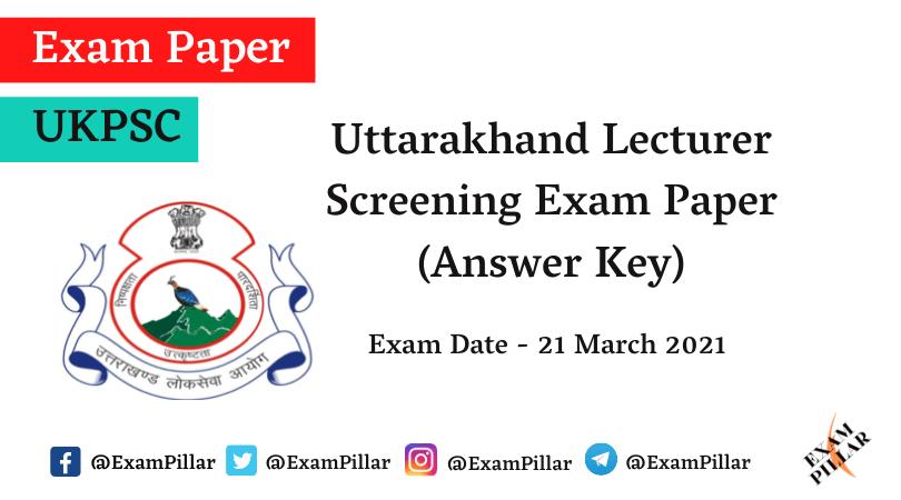UKPSC Lecturer Screening Answer Key