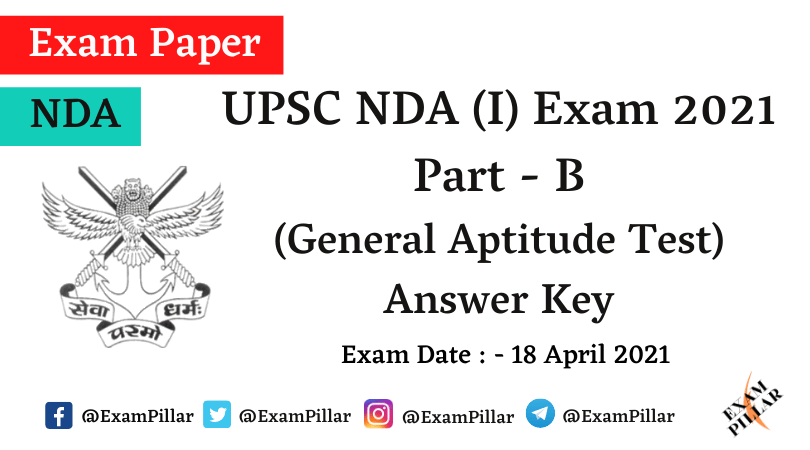 NDA 2021 General Aptitude Test Answer Key