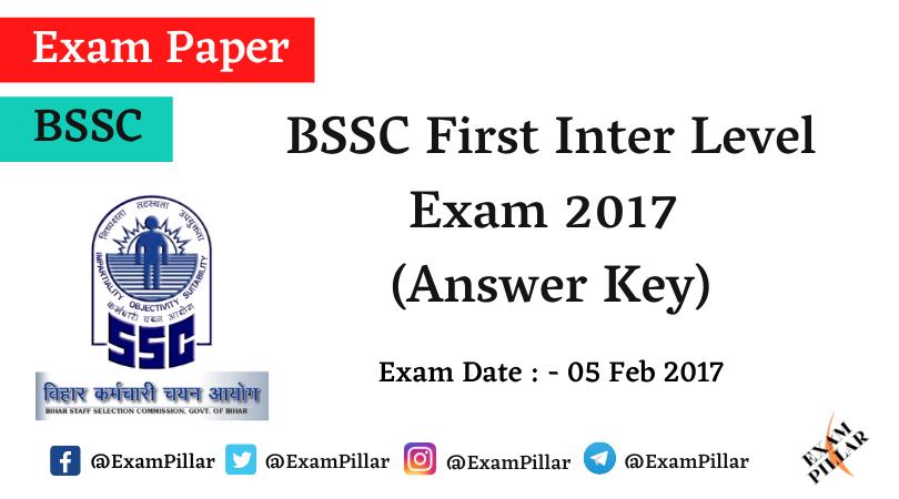 BSSC First Inter Level Exam Paper 2017