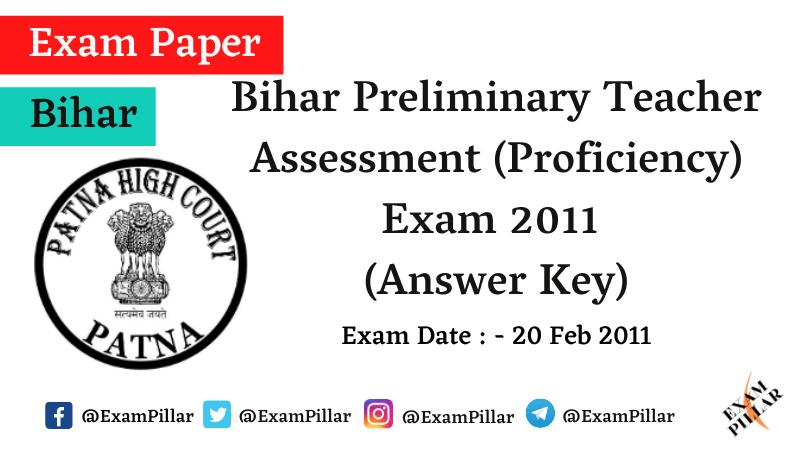 Bihar Preliminary Teacher Assessment (Proficiency) Exam Paper